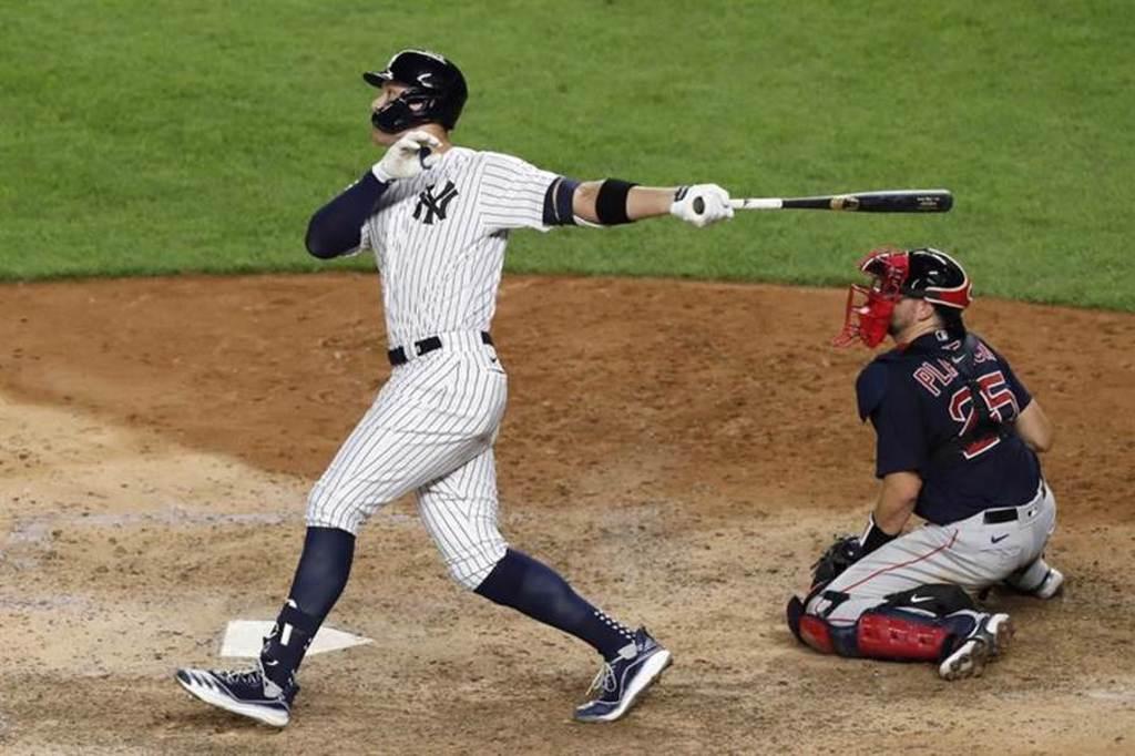 洋基外野手賈吉連續5場轟出全壘打,創下個人紀錄。(美聯社)