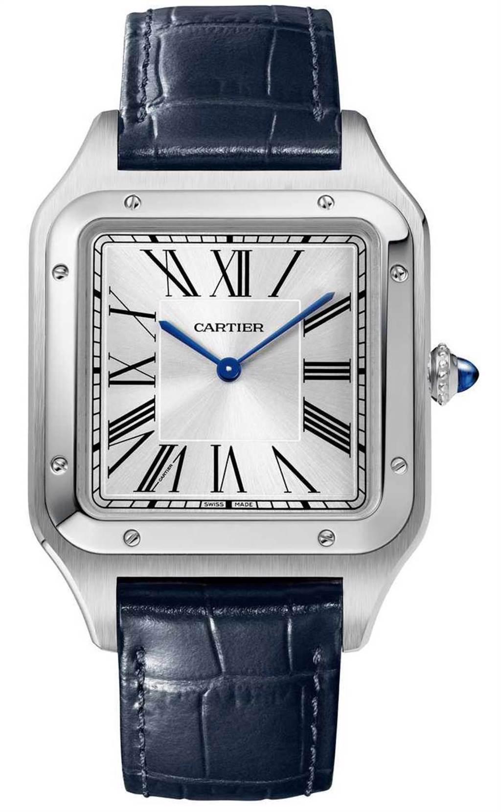 CARTIER「Santos-Dumont系列」超大型款腕錶,精鋼錶殼,46.6mm╱180,000元。(圖╱CARTIER提供)