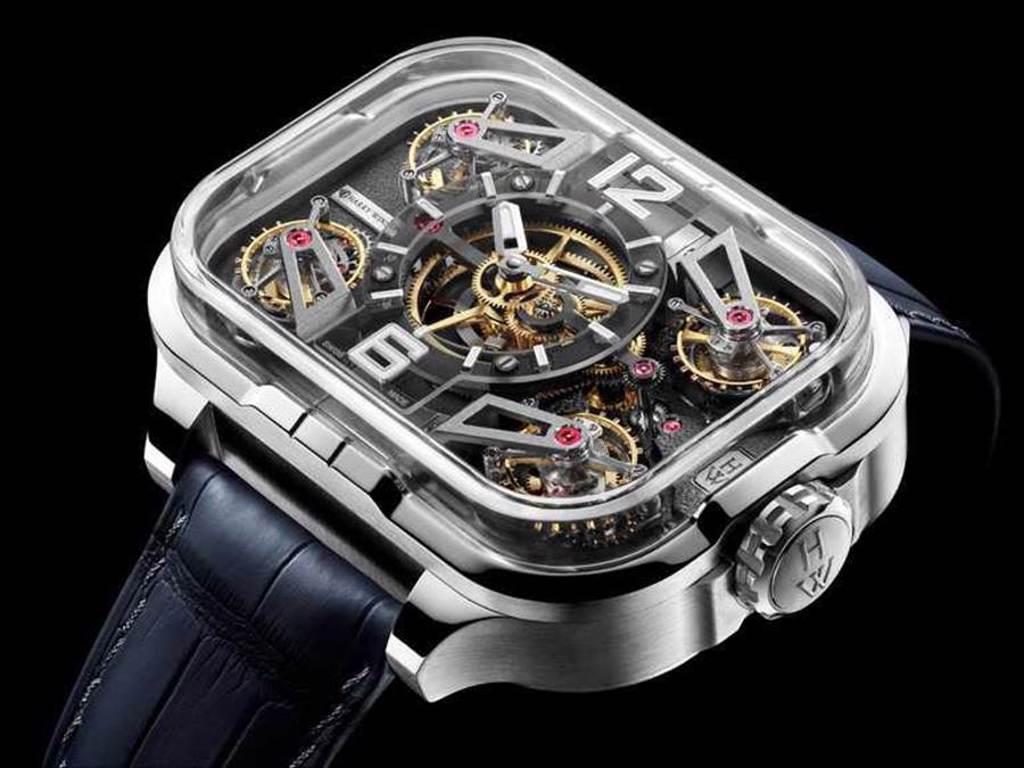 HARRY WINSTON「Histoire de Tourbillon史詩陀飛輪系列」10號腕錶,18K玫瑰金錶殼,45mm,95顆寶石╱26,000,000元。(圖╱HARRY WINSTON提供)