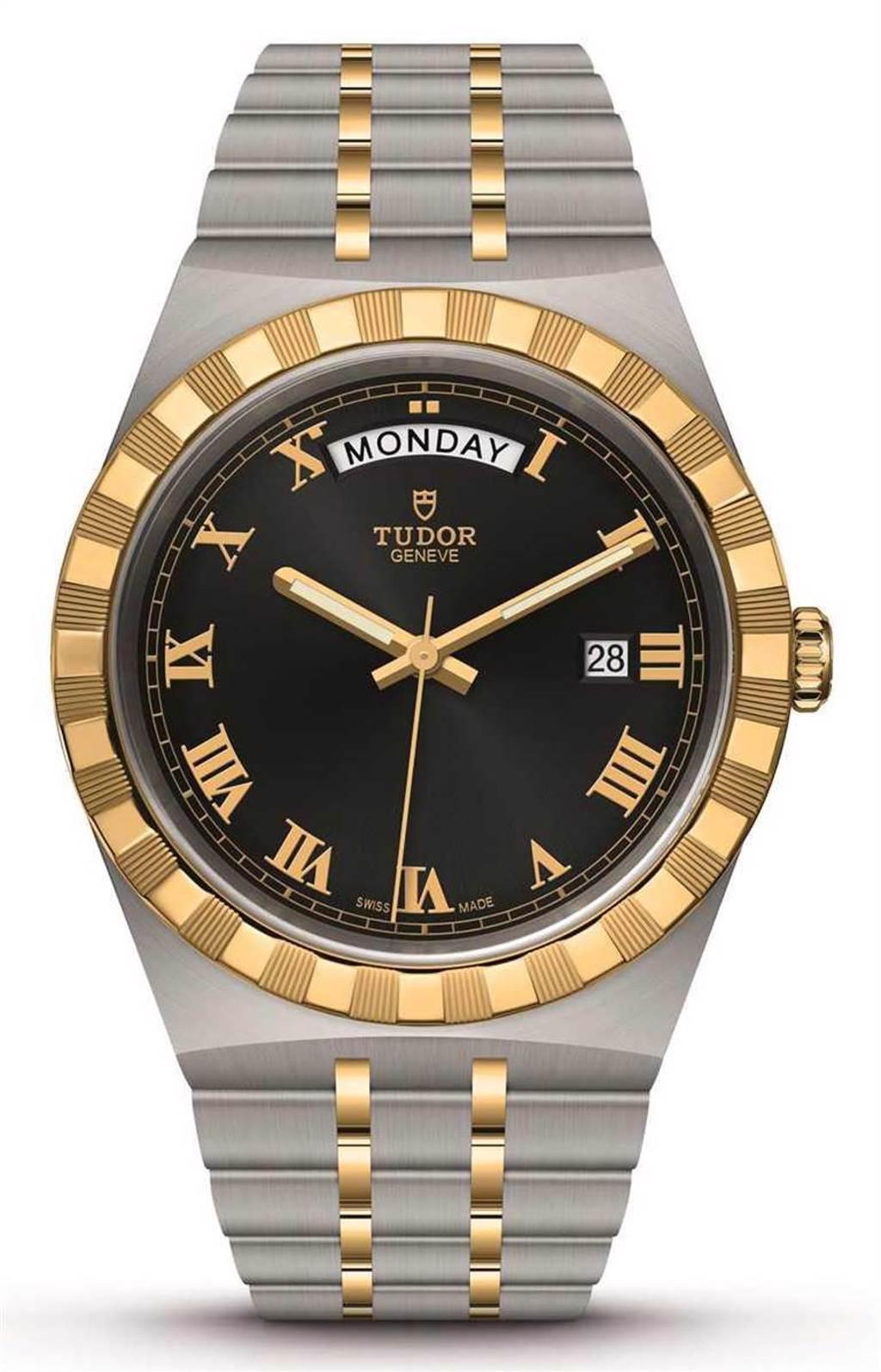 TUDOR「Royal皇家系列」腕錶,316L不鏽鋼錶殼,黃金鋼錶帶,41mm╱107,000元。(圖╱TUDOR提供)
