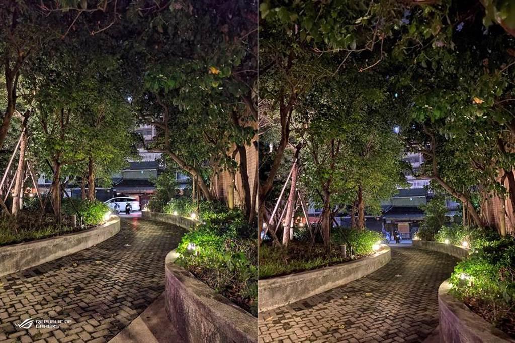 ROG Phone 3(左)對比iPhone 11 Pro夜間實拍(3)。(黃慧雯攝)