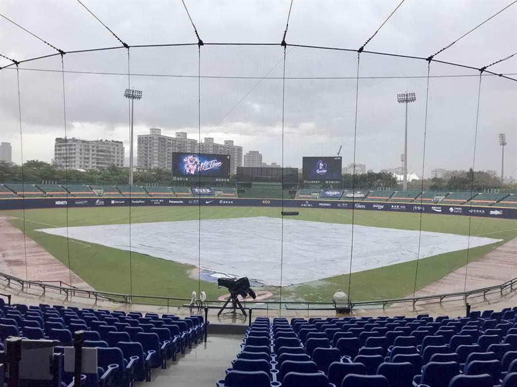 新莊球場下起豪大雨,比賽被迫延期。(資料照片/鄧心瑜攝)