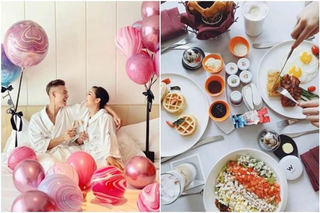 台北W飯店推出「情人節限定套房用餐+住宿」專案。圖/台北W飯店提供