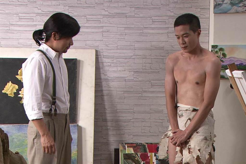 薛仕凌劇中受老師拜託擔任全裸人體模特兒。(台視提供)