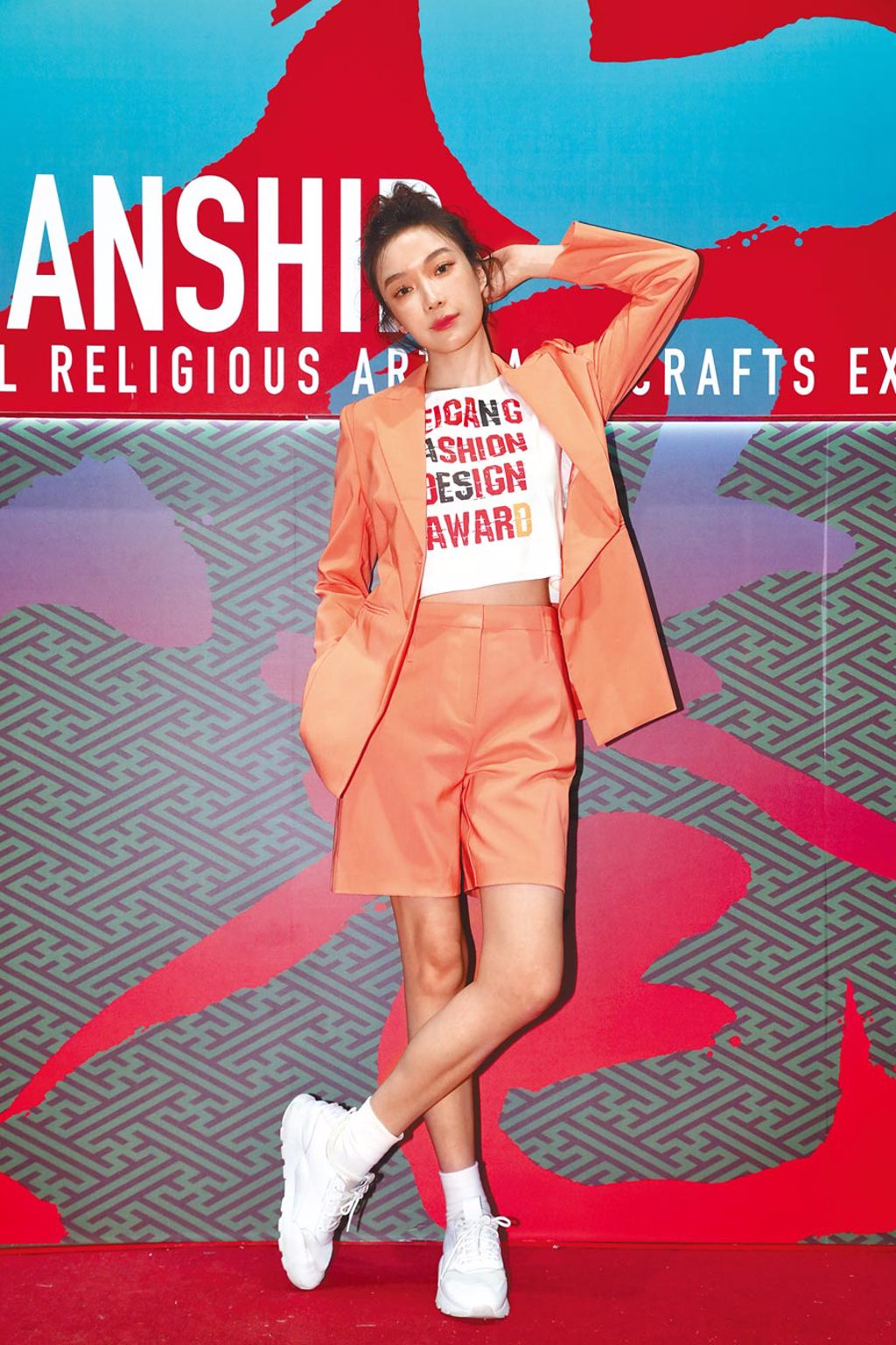 蔡淑臻昨擔任北港時尚設計競賽決賽評審。(雲林縣政府提供)
