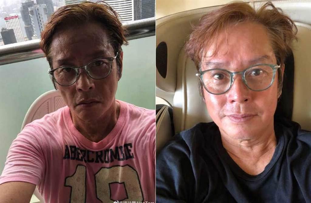 譚詠麟運動後爆瘦且臉頰凹陷(左),喝個水卻馬上回到原樣,被懷疑健康出問題。(取材自譚詠麟微博)
