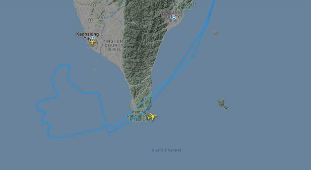 長榮班機空中畫讚,由機師做出高度專業的駕駛示範。(翻攝flightradar24)