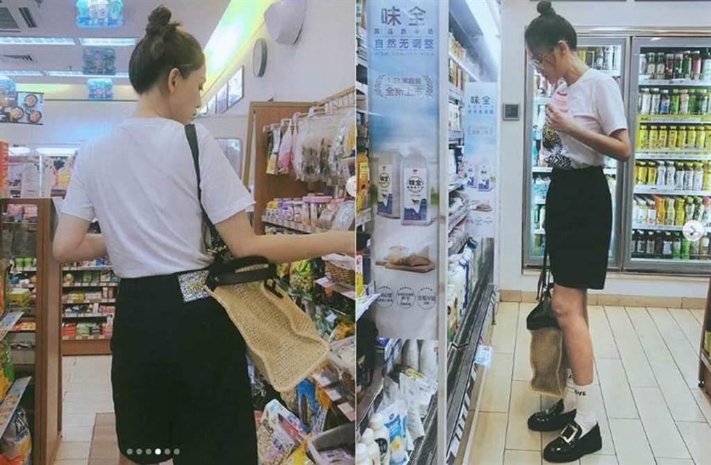 陳喬恩零偽裝到便利商店買東西,被拍了全身照,根本看不出已經41歲。(取材自陳喬恩IG)