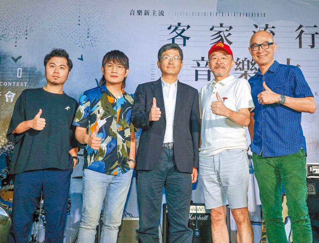 黃子軒(左起)、羅文裕、客委會主委楊長鎮、黃連煜、王治平昨出席記者會,宣布活動正式起跑。(粘耿豪攝)