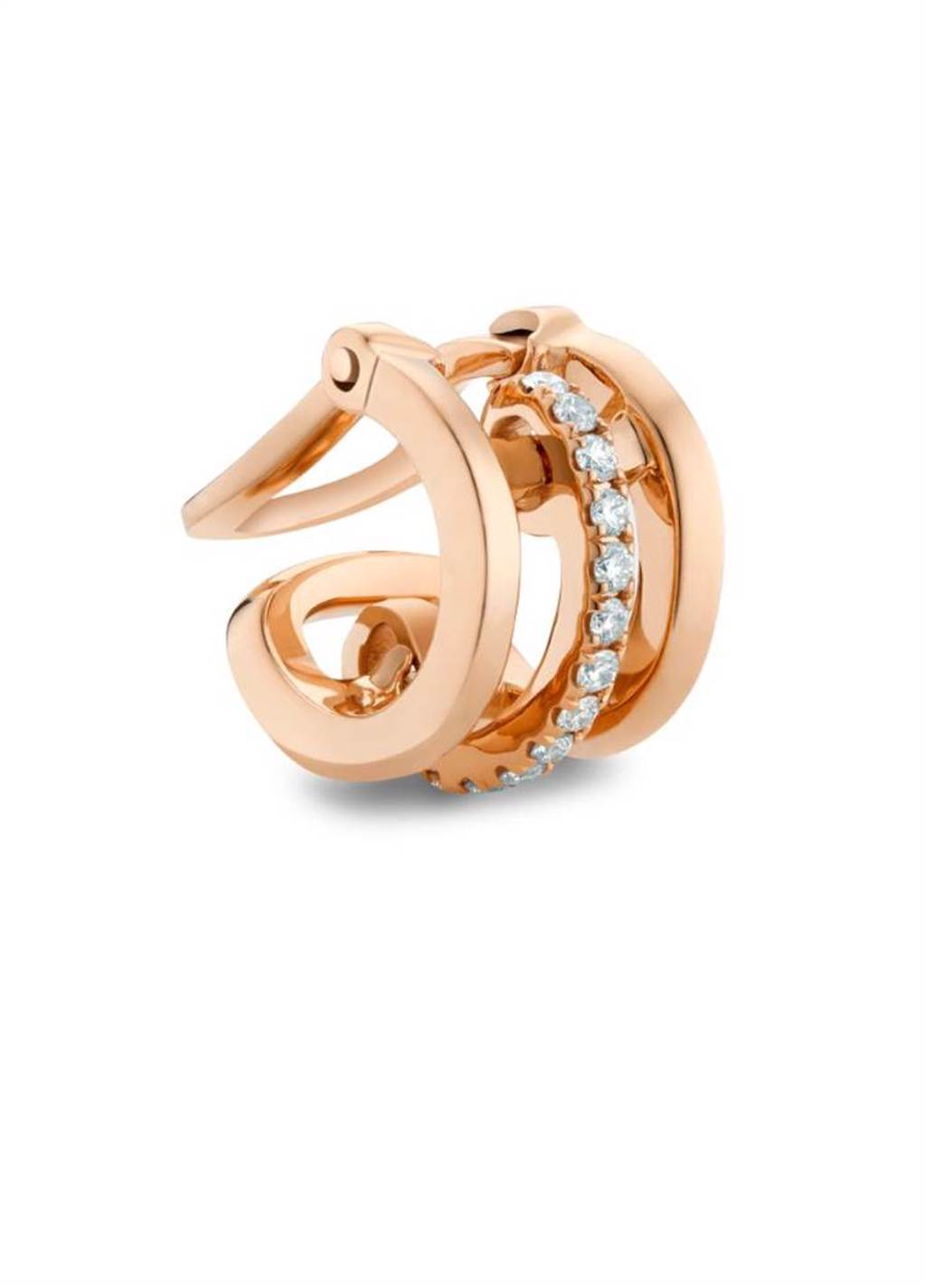 De Beers Horizon 18K玫瑰金鑽石耳骨夾,3萬3000元。(De Beers提供)
