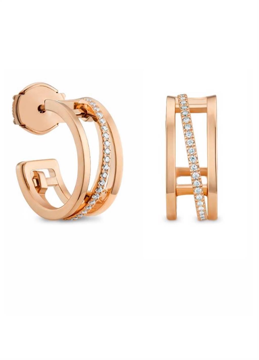 De Beers Horizon 18K玫瑰金鑽石耳環,12萬1000元。(De Beers提供)