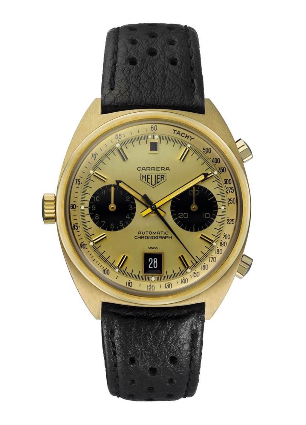 泰格豪雅1969年Carrera Heuer 1158CHN骨董表,18k金,有「機師腕表」( Pilot's watch)之稱。(TAG Heuer提供)