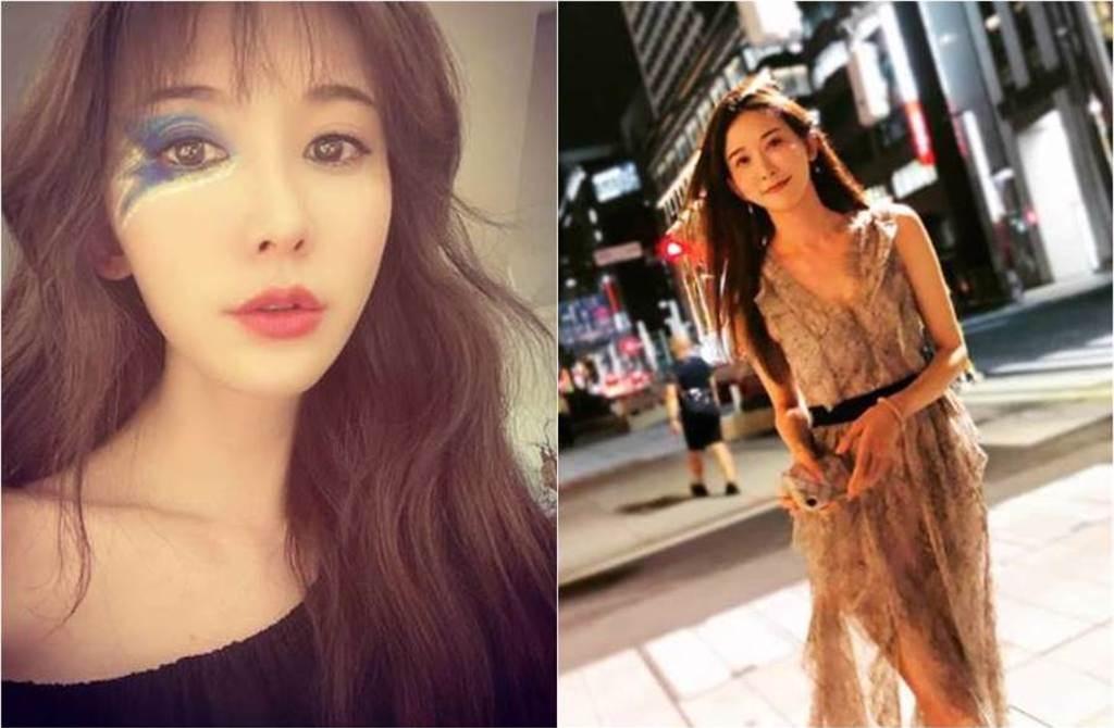 林志玲頂藍色閃電眼妝自拍,讓她增添幾分搖滾氛圍。(圖/取材自林志玲Instagram)