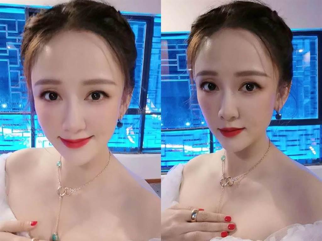陳喬恩被指美顏相機開過頭,臉型變得不自然。(圖/微博@陳喬恩)