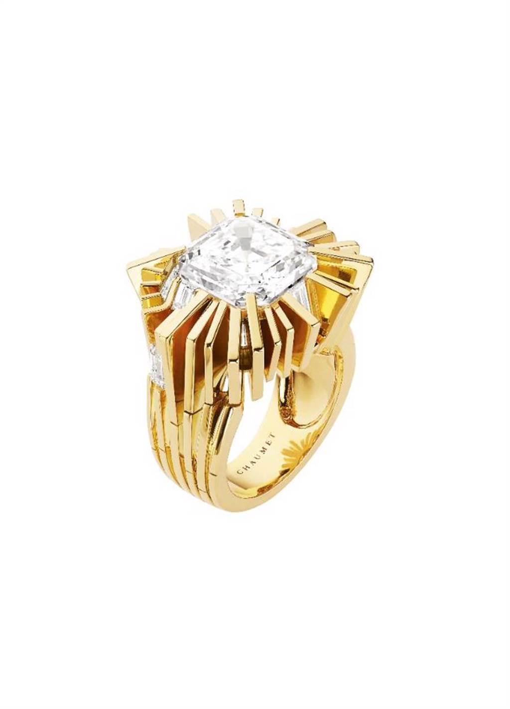 CHAUMET Skyline黃K金戒指,以高聳入雲的摩天大樓為靈感打造戒檯,烘托7.34克拉的鑽石,約4500萬元。(CHAUMET提供)