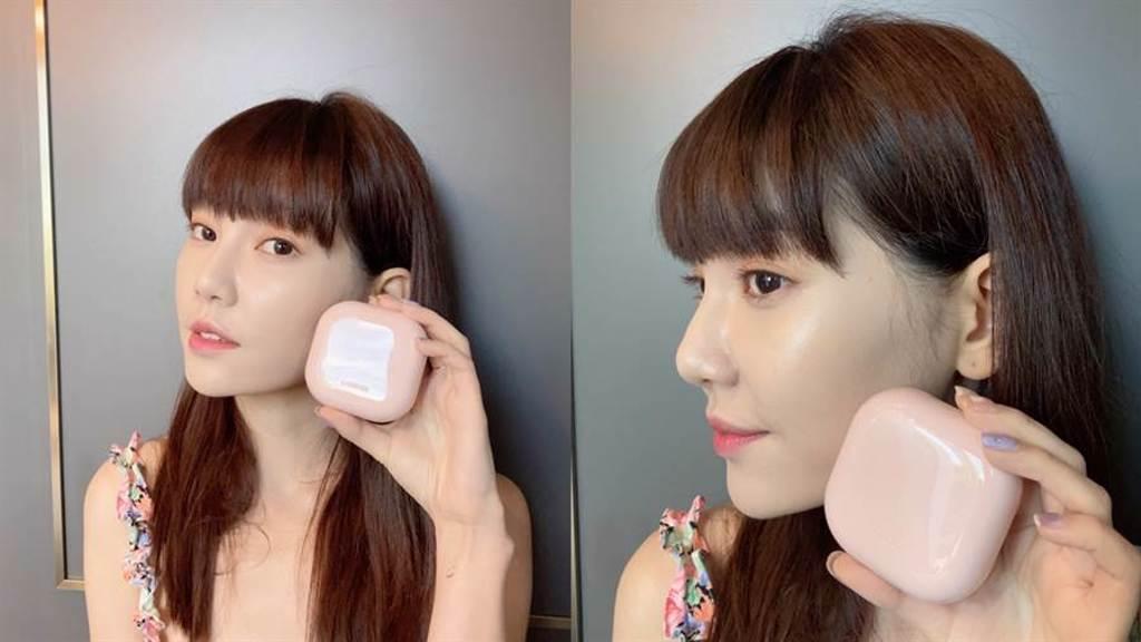 使用我型我塑光感氣墊時,則可以加強臉部中央想要更澎潤、更立體的區域,增加臉部光澤感和立體感。(圖/邱映慈攝影)