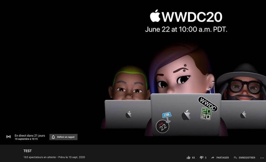 蘋果YouTube頻道進行測試,曝光了9月10日的日期引發討論。(摘自Twitter)