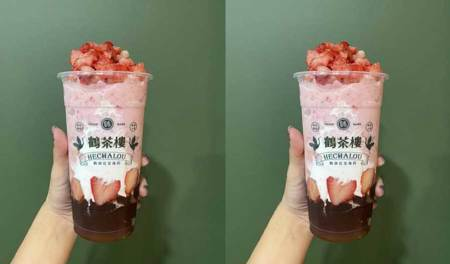 《鶴茶樓》七夕情人節限定!「鶴頂.草莓甘露」喝得到17顆新鮮草莓