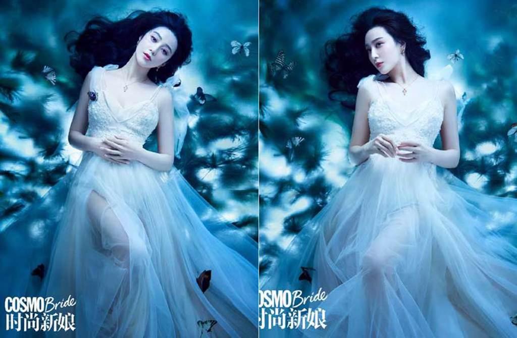 范冰冰分手李晨後雖無新戀情,卻換了白紗,嫩白大腿根見客。(取材自時尚新娘雜誌微博)