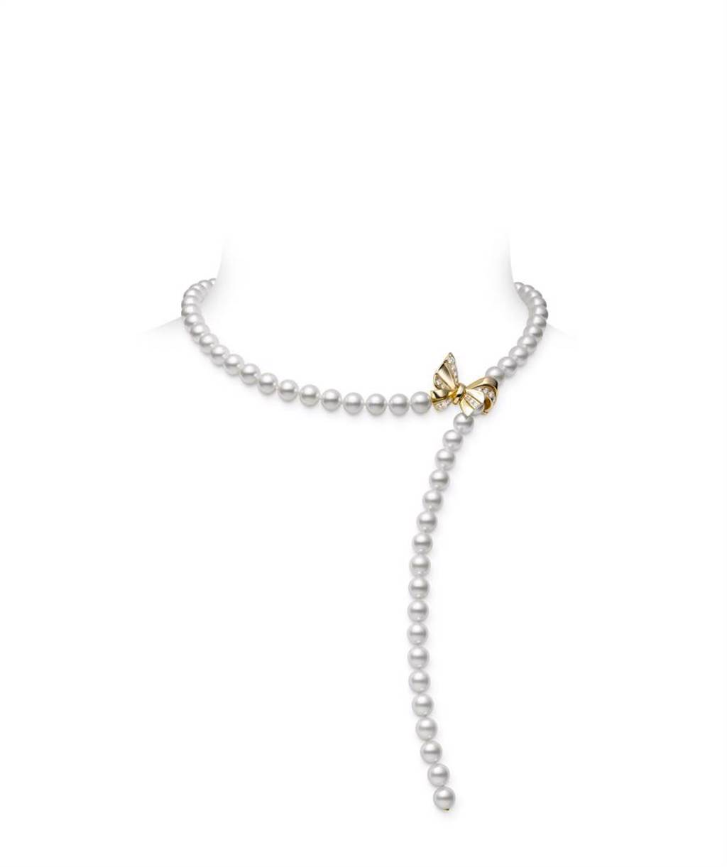 MIKIMOTO Jeux de Rubans系列珍珠串鍊,日本Akoya珍珠直徑約7mm,約28萬8000元。(MIKIMOTO提供)