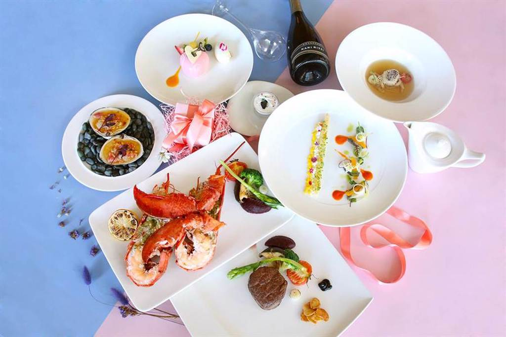 極炙牛排館主廚推七夕情人節「華麗饗宴雙人套餐」,主打海陸雙主菜。(台中日月千禧酒店提供)