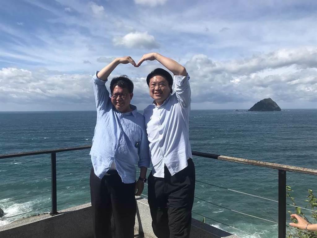 基隆市長林右昌(右)23日下午邀請桃園市長鄭文燦(左)到和平島公園欣賞山海美景,兩人比出愛心手勢合影,象徵「同心協力」。(陳彩玲攝)