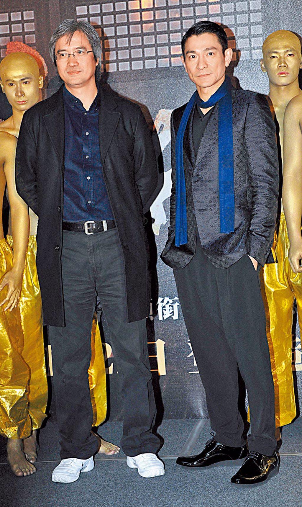 陳木勝(左)2011年曾與劉德華來台灣宣傳《新少林寺》。(資料照片)