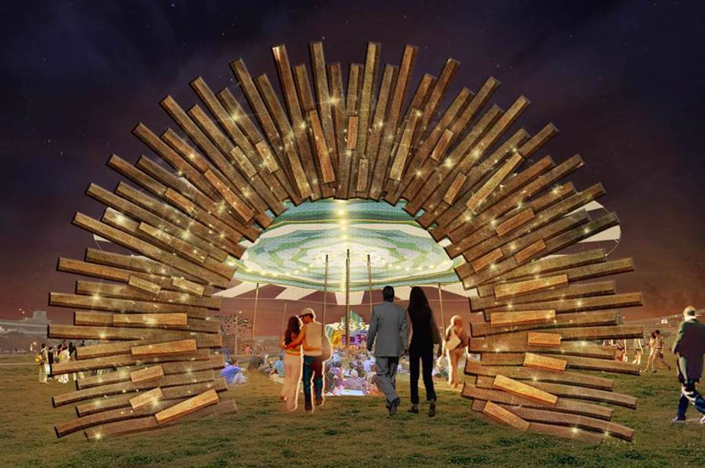 2020新北市河海音樂季下月開跑,10月4日在新北大都會公園規畫「來新北音樂盒野餐」活動,打造巨型藝術天幕,透過光影投射在草坪上設計交錯點綴;圖為模擬圖。