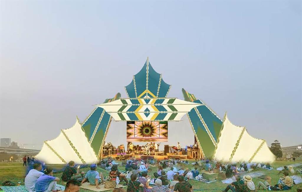 公園草坪上打造巨型光影舞台、藝術天幕,阻絕日光穿透的同時,也在草地上投射出光影堆疊的交錯點綴。