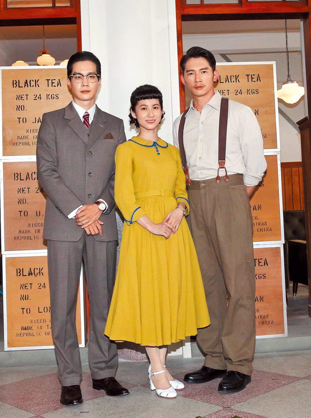 溫昇豪(右起)、連俞涵、薛仕凌昨出席《茶金》開拍儀式,三人劇中有糾葛感情戲。(盧禕祺攝)