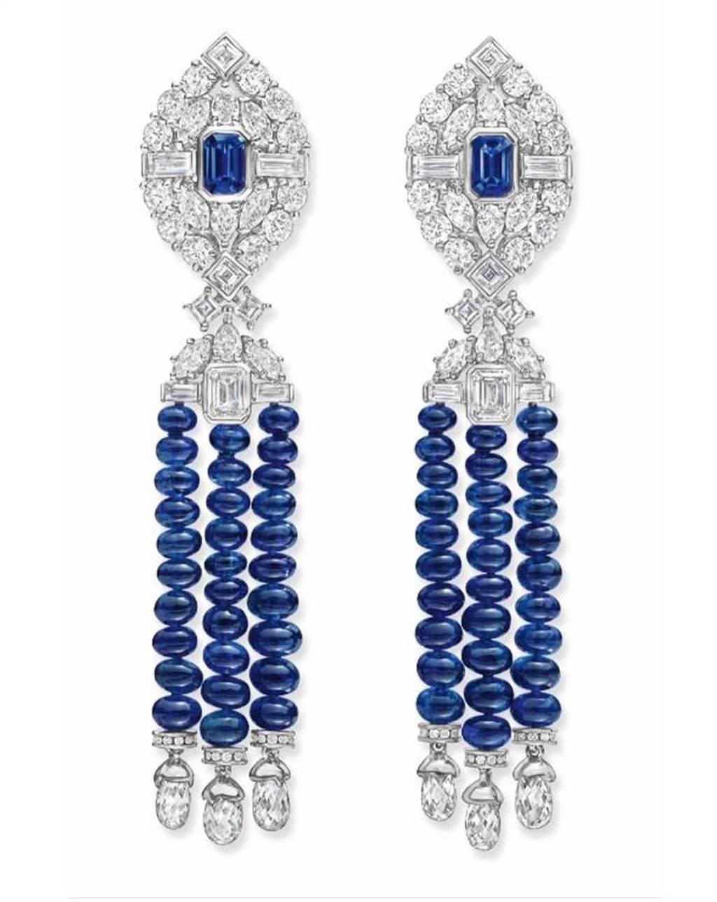 麗晶精品獨家,海瑞溫斯頓New York Fifth Avenue系列藍寶石鑽石耳環,價格店洽。(麗晶精品提供)