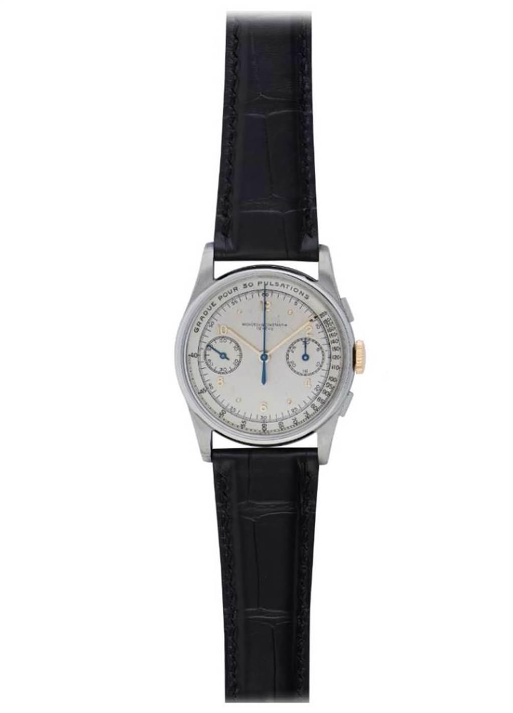 江詩丹頓1943年生產的Staybrite分鐘計時精鋼骨董表,具備脈搏儀功能,價格比金鉑金表殼還要看俏,377萬元。(Vacheron Constantin提供)