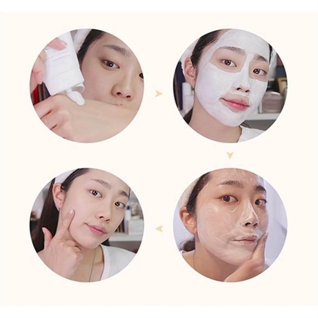 江華喬桐米亮白面膜洗面乳除了拿來洗臉,也可以當作泥膜使用。(圖/品牌提供)