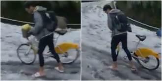 男騎Ubike穿拖鞋衝陽明山賞雪 網驚:要截肢了?