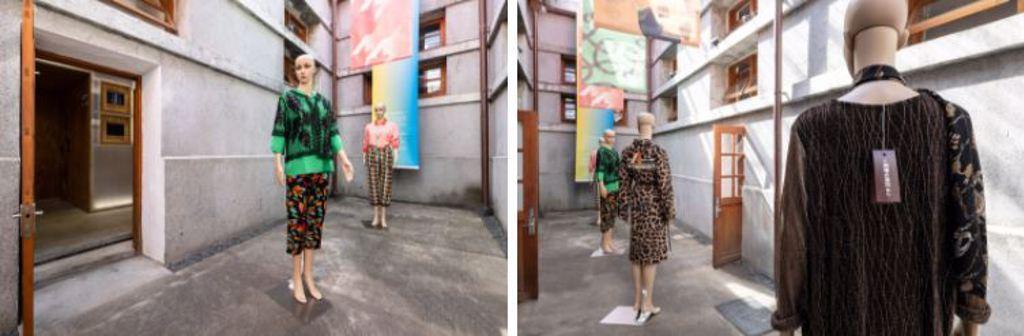 大理街會是什麼味道呢?這裡的氣息藏在模特所搭配的圍巾上,黃蓉用奔放、展現自我的「快樂鼠尾草」,搭配收斂的「苦橙葉」,就像這些穿搭,熱情外放又有格調。(Photo Credit:忠泰建築文化藝術基金會)