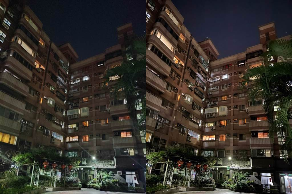 HTC Desire 21 Pro 5G(左)對比iPhone 12 Pro夜間實拍(4)。(黃慧雯攝)