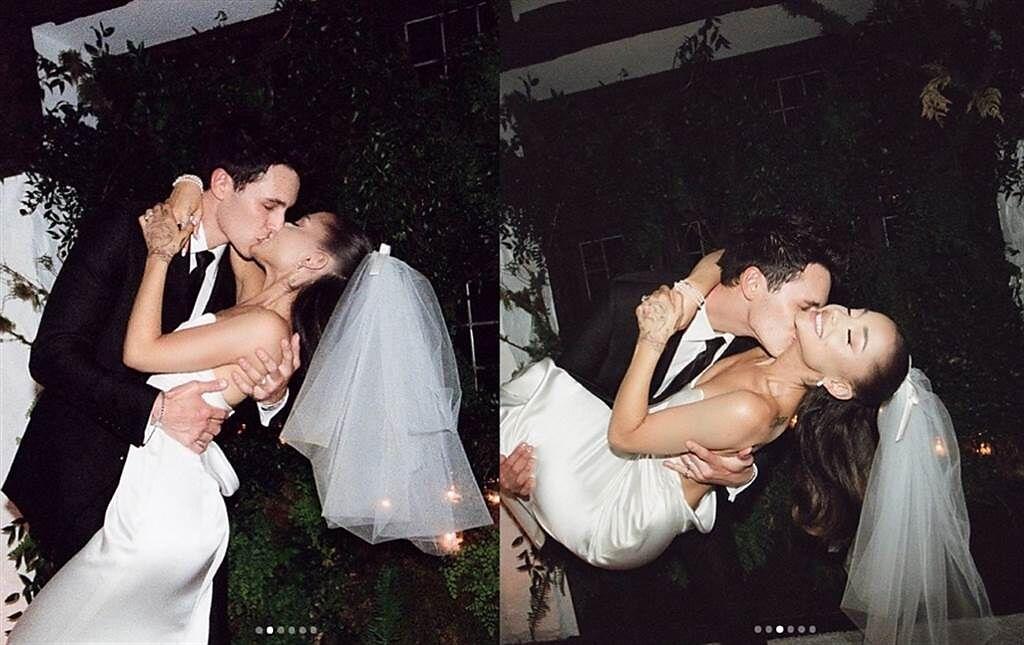 亞莉安娜和道爾頓激情擁吻,閃瞎大票網友。(圖/ 摘自Ariana Grande IG)