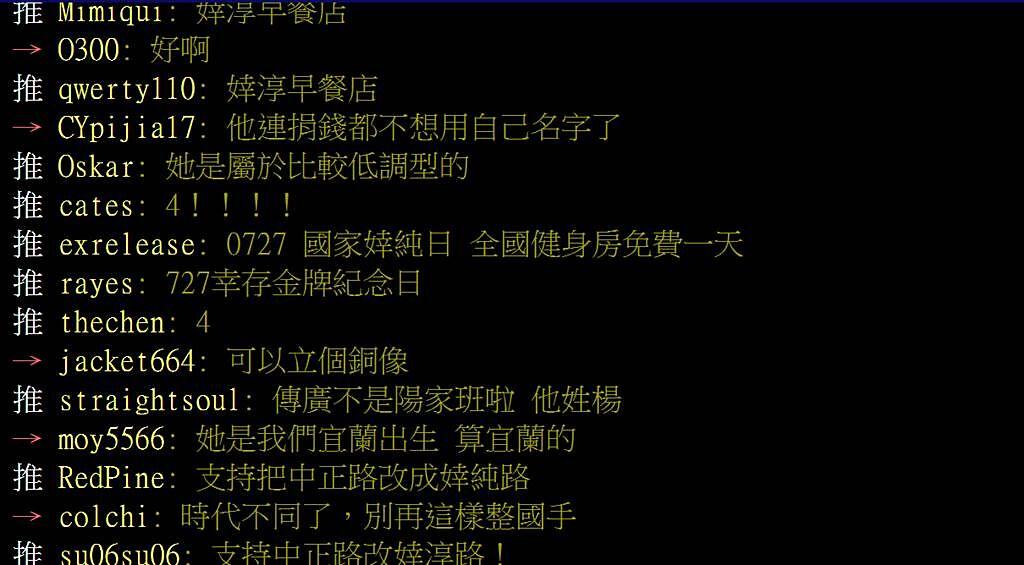 網友在PTT發文台東是否設「婞淳路」紀念她東奧奪金。(圖/翻攝自PTT)