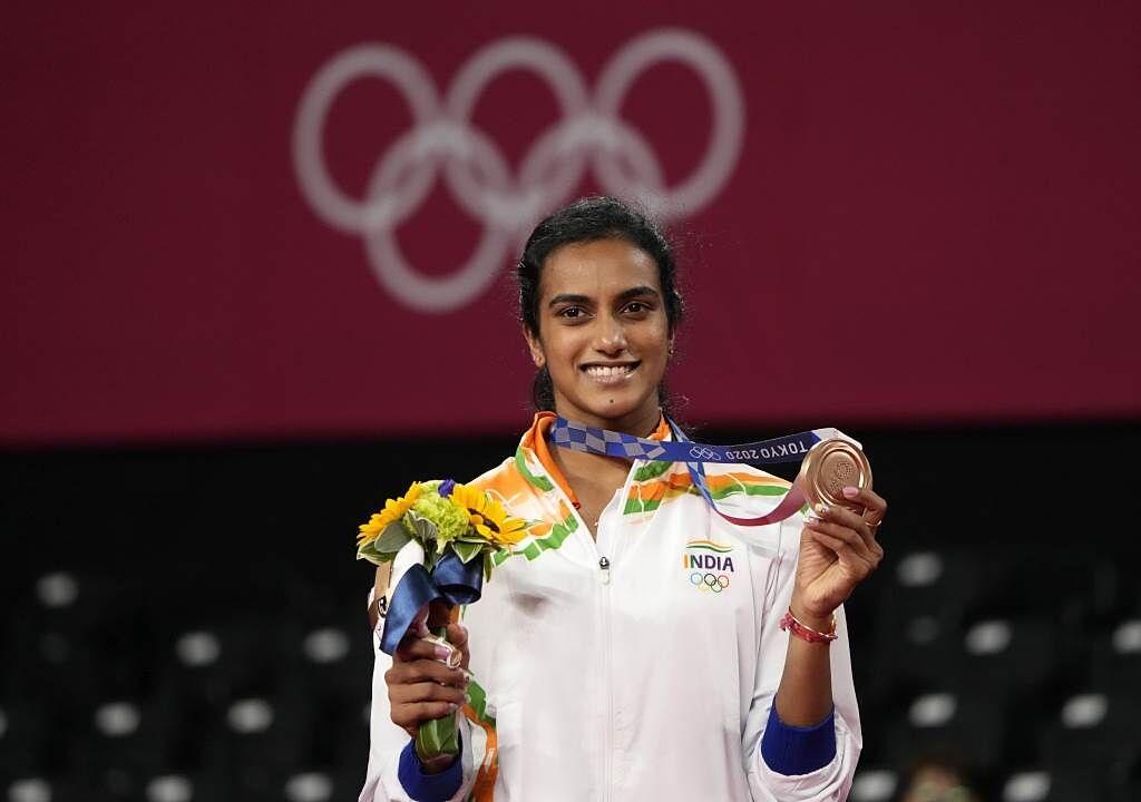 印度女將辛度獲得羽球女單銅牌。(美聯社)