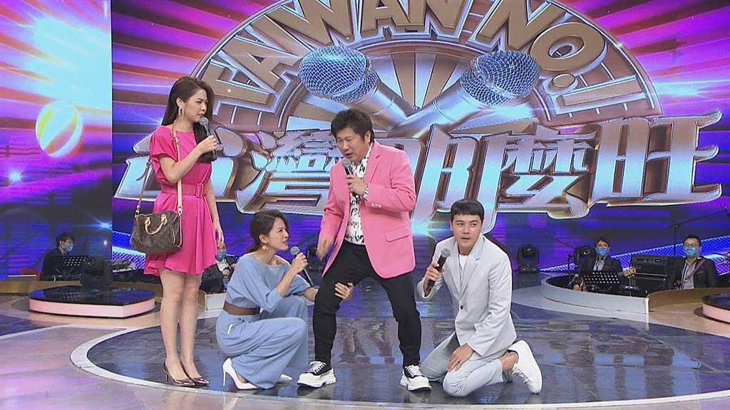 白家綺(左起)、蘇晏霈、胡瓜與黃文星即興演短劇。(民視提供)